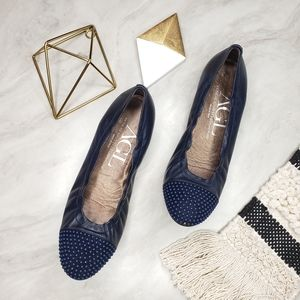 AGL Blakely Leather Studded Cap Toe Flats Navy